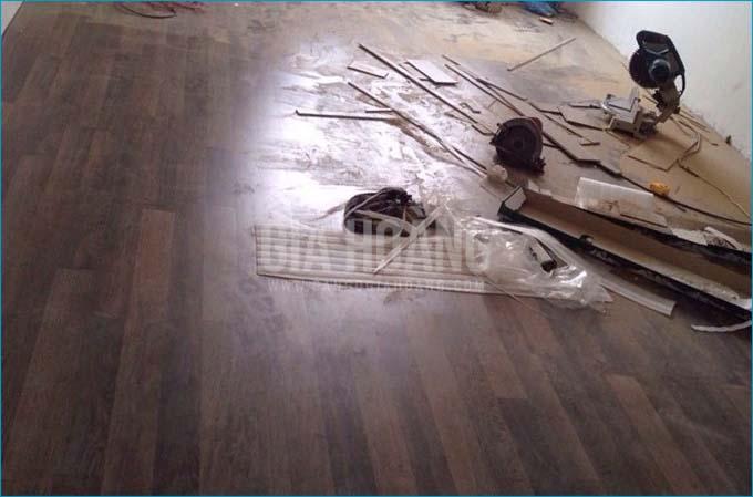 Lắp đặt gia công phụ kiên Len - Nẹp sàn gỗ hoàn thành công trình